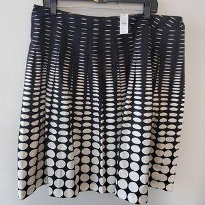 New Talbots polka dot pleated midi skirt plus 16W